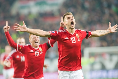 Tamas Priskin (R) of Hungary and teammates celebrate scoring during the UEFA 2016 European Championship qualifying playoff football match between Hungary and Norway at the Groupama Arena stadium in Budapest, Hungary on November 15, 2015. ATTILA VOLGYI