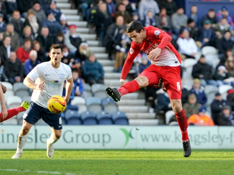 PRESTON, ENGLAND - FEBRUARY 15: Mathieu Baudry (R) of Leyton Orient scores the first goal of the game for his side during the Sky Bet League One match between Preston North End and Leyton Orient at Deepdale on February 15, 2014 in Preston, England. (Photo by Clint Hughes/Getty Images)