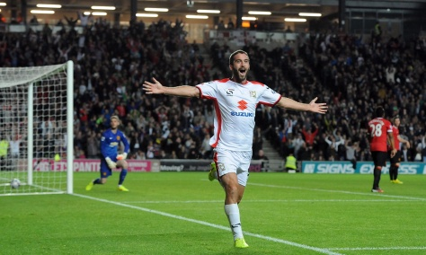 Mandatory Credit: Photo by JMP/REX (4081803y) Milton Keynes Dons' Will Grigg celebrates his second goal of the game MK Dons v Manchester United, Capital One Cup Football, Stadium MK, Britain - 26 August 2014